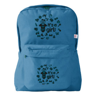 Illustration black IT'S A GIRL! Backpack