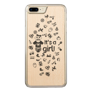 Illustration black IT'S A GIRL! Carved iPhone 8 Plus/7 Plus Case