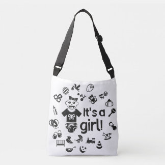 Illustration black IT'S A GIRL! Crossbody Bag