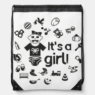 Illustration black IT'S A GIRL! Drawstring Bag