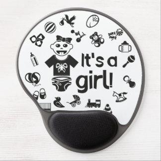 Illustration black IT'S A GIRL! Gel Mouse Pad