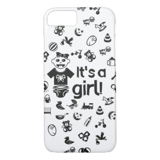 Illustration black IT'S A GIRL! iPhone 8/7 Case