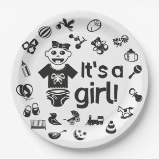 Illustration black IT'S A GIRL! Paper Plate