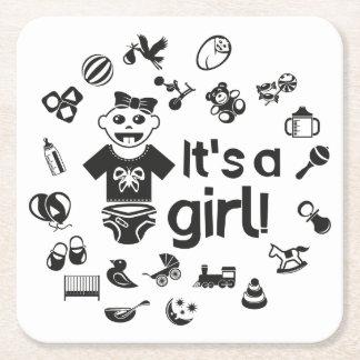 Illustration black IT'S A GIRL! Square Paper Coaster