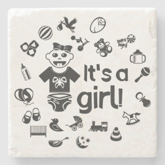 Illustration black IT'S A GIRL! Stone Coaster
