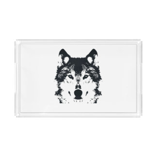 Illustration Black Wolf Acrylic Tray