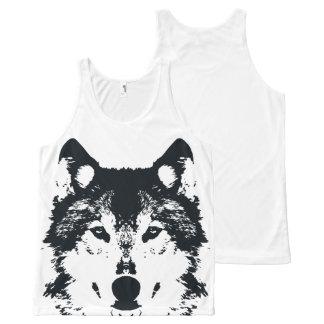 Illustration Black Wolf All-Over Print Singlet