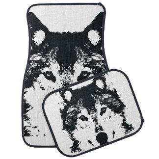 Illustration Black Wolf Car Mat
