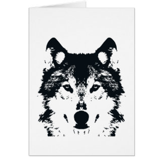 Illustration Black Wolf Card
