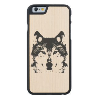 Illustration Black Wolf Carved Maple iPhone 6 Case