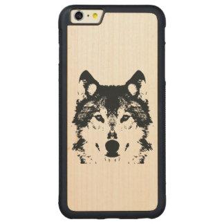 Illustration Black Wolf Carved Maple iPhone 6 Plus Bumper Case