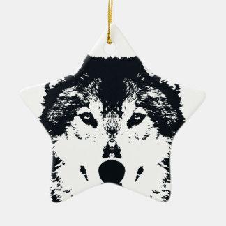 Illustration Black Wolf Ceramic Ornament