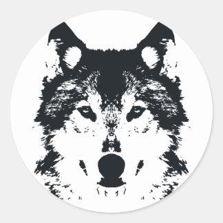Illustration Black Wolf Classic Round Sticker
