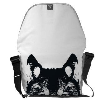 Illustration Black Wolf Commuter Bag