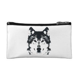 Illustration Black Wolf Cosmetic Bag