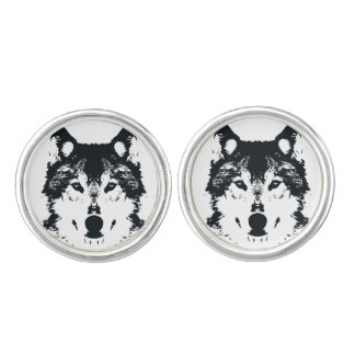 Illustration Black Wolf Cuff Links