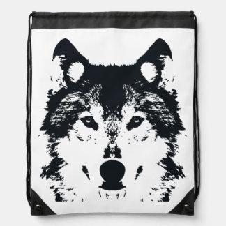 Illustration Black Wolf Drawstring Bag