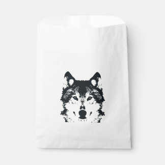 Illustration Black Wolf Favour Bag