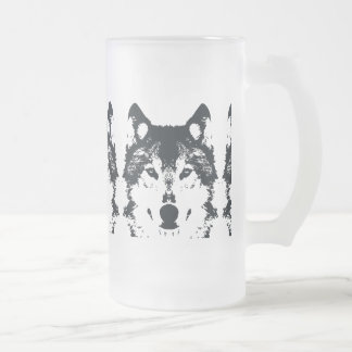 Illustration Black Wolf Frosted Glass Beer Mug