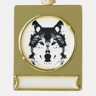 Illustration Black Wolf Gold Plated Banner Ornament