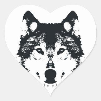 Illustration Black Wolf Heart Sticker