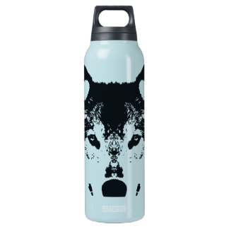 Illustration Black Wolf Insulated Water Bottle