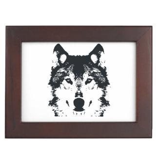 Illustration Black Wolf Keepsake Box