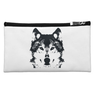 Illustration Black Wolf Makeup Bag