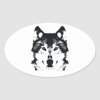 Illustration Black Wolf Oval Sticker