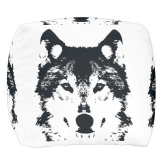 Illustration Black Wolf Pouf