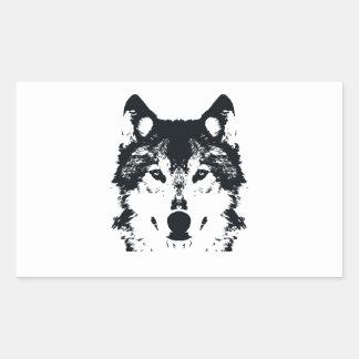 Illustration Black Wolf Rectangular Sticker