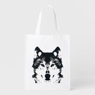 Illustration Black Wolf Reusable Grocery Bag