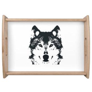 Illustration Black Wolf Serving Tray