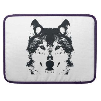 Illustration Black Wolf Sleeve For MacBooks