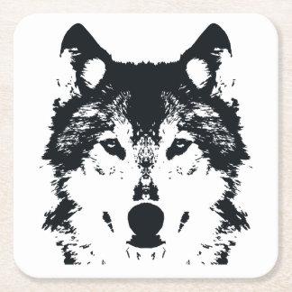 Illustration Black Wolf Square Paper Coaster