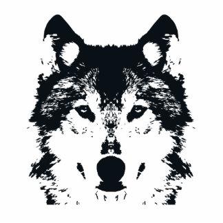 Illustration Black Wolf Standing Photo Sculpture