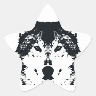Illustration Black Wolf Star Sticker
