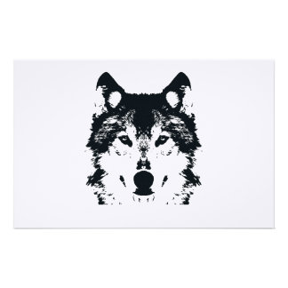 Illustration Black Wolf Stationery