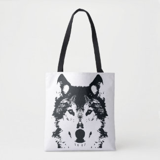 Illustration Black Wolf Tote Bag