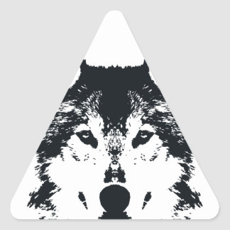Illustration Black Wolf Triangle Sticker
