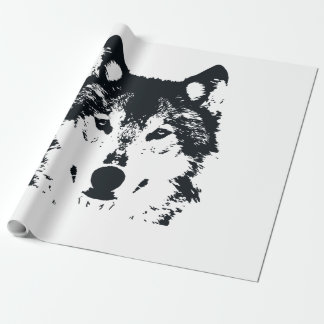 Illustration Black Wolf Wrapping Paper