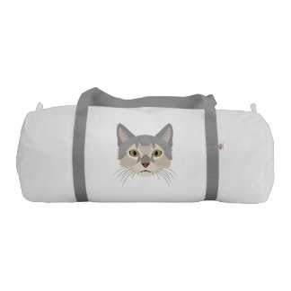 Illustration Cat Face Gym Duffel Bag