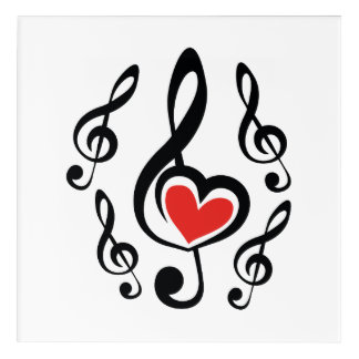 Illustration Clef Love Music Acrylic Print