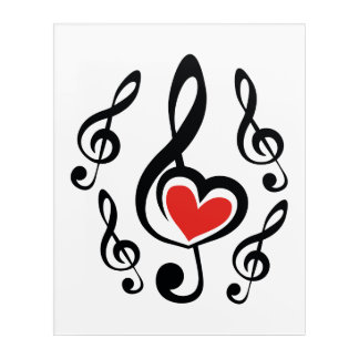 Illustration Clef Love Music Acrylic Wall Art