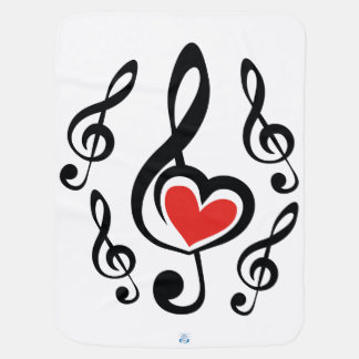 Illustration Clef Love Music Baby Blanket