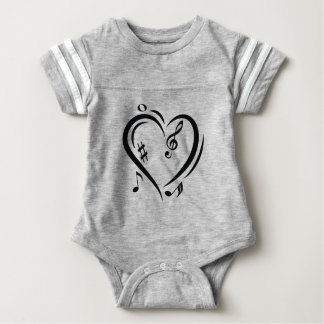 Illustration Clef Love Music Baby Bodysuit