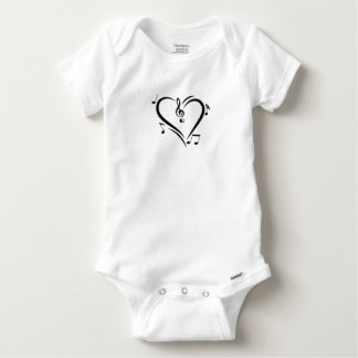 Illustration Clef Love Music Baby Onesie