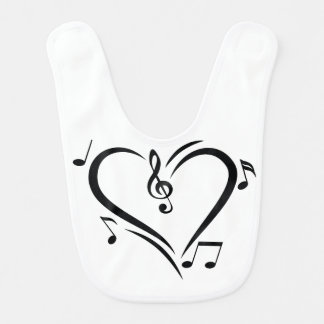 Illustration Clef Love Music Bib