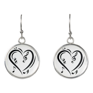 Illustration Clef Love Music Earrings