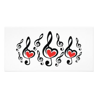 Illustration Clef Love Music Photo Card Template